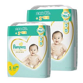 [Combo 2] Bỉm - Tã dán Pampers Premium New size S 82 miếng (Cho bé 4~8kg)