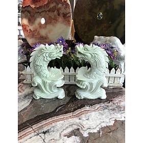 Cá Chép hóa Rồng phong thủy đá cẩm thạch trắng xanh - Cao 20 cm