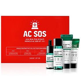 Bộ Sản Phẩm Dành Cho Da Mụn Some By Mi 4 Món AHA-BHA-PHA 30 Days Miracle AC SOS Kit