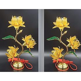 Đèn thờ hoa sen vàng - cánh nhựa chân hợp kim - 1 cặp đèn