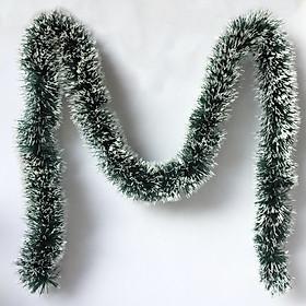 Dây đuôi chồn xanh viền trắng trang trí Noel Năm Mới dài 1,8m