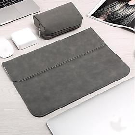 Bao da, túi da, cặp da chống sốc cho macbook, laptop chất da lộn kèm ví đựng phụ kiện - Xám - Macbook Pro 13.3 inch đời 2019 - 2020