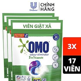 Combo 3 túi viên giặt xả OMO tiện lợi công nghệ Anh Quốc dùng (17 viên/túi): Khử mùi