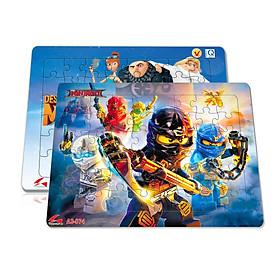 Bộ 2 tấm xếp hình A3, 48 mảnh ghép: Ninjago và Minion, hoặc đội bay siêu đẳng và pokemon. Đồ chơi trí tuệ cho bé từ 3 tuổi. Tia Sáng Việt Nam. Chứng nhận hợp quy chủng loại: Xếp hình số mảnh ghép lên đến 25 mảnh.