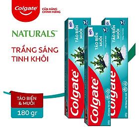 Bộ 3 Kem đánh răng Colgate thiên nhiên làm trắng từ Tảo biển và muối tinh khiết 180g/tuýp