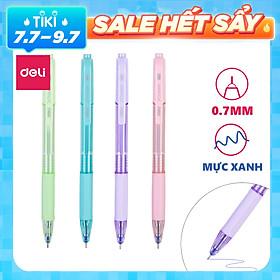 Bút bi bấm ngòi 0.7mm mực xanh Deli - Màu sắc theo lựa chọn -  1 chiếc - EQ199-BL