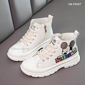 Giày boot thể thao cho bé gái Mickey màu trắng phong cách PD367