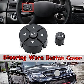 Left Black Steering Worn Button Cover For Mercedes Benz W204 W212 C200 GLK260