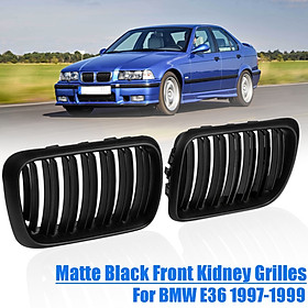 Pair Matte Black ABS Front Kidney Grilles For BMW E36 1997-1999