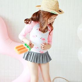 Bộ đồ bơi dài tay phối quần váy hoạ tiết hồng hạc cho bé gái DBBT19