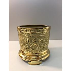 Đồ thờ cúng bằng đồng, Bát hương chất liệu Đồng Vàng ( 2 mặt rồng và phượng )