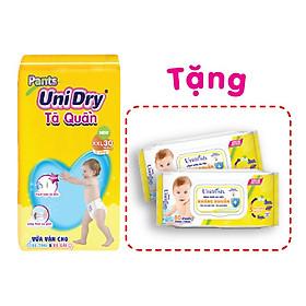 Tã quần UniDry G1 XXL30 tặng 1 khăn ướt UniFresh vitamin E