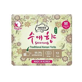 BĂNG VỆ SINH HỮU CƠ THẢO DƯỢC NEOSIS SOOAEHYANG BAN NGÀY của Hàn Quốc_Size M_24cm_1 gói/12 miếng