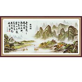 Tranh dán tường 3D vải lụa hình sông nước phiêu bòng cũng những dòng thơ - tranh cao cấp