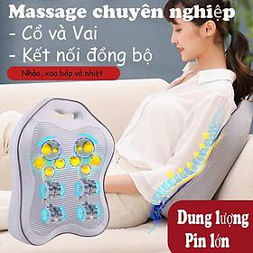 Gối Massage Hồng Ngoại - Gối Massage Lưng Cổ Cột Sống Bản Nâng Cấp Mát xa Toàn Lưng Bằng Bi Massage Hồng Ngoại Phiên Bản Dùng Pin Và Dùng Điện - Máy Massage