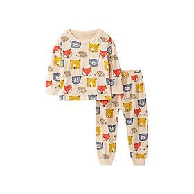 Bộ đồ thun cotton dài tay cho bé trai họa tiết gấu cáo cực dễ thương 2-7T