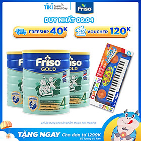 Bộ 3 lon Sữa Bột Friso Gold 4 Cho Trẻ Từ 2-4 Tuổi 1.5kg + Tặng Đàn Organ