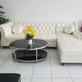 Bộ sofa tân cổ điển góc L (trắng)