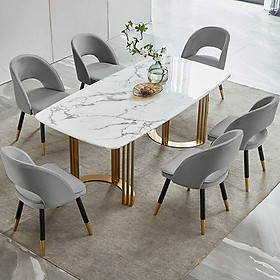 Bộ bàn ăn mặt đá và 6 ghế saarinen hung inox cao cấp BBA-11