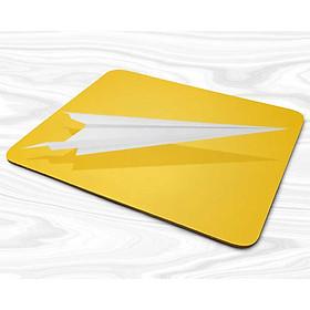 Miếng lót chuột mẫu Máy bay giấy nền vàng
