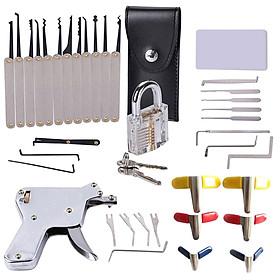 37pcs Unlocking Lock Pick Set Key Extractor Tool With Gray Practice Padlock Lock Pick Tools