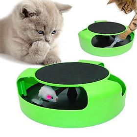 Bàn cào móng cho mèo hình tròn bọc nhựa có con chuột - Giao màu ngẫu nhiên