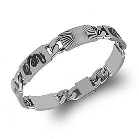 Lắc tay nam inox thời trang kiểu lặc cách điệu chạm rồng trangsucpt màu trắng trangsucpt thép không gỉ PTLTNA118