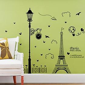 Decal dán tường Tháp paris và cây đèn - HP161