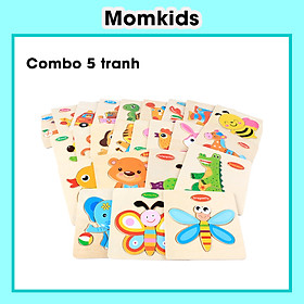 Combo 5 tranh ghép gỗ 3d, đồ chơi xếp hình phát triển trí tuệ cho bé