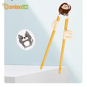 Đũa tập ăn cho bé Bamboo Life hàng chính hãng từ bột ngô Đũa tập ăn xỏ ngón cho bé Dụng cụ tập ăn cho bé