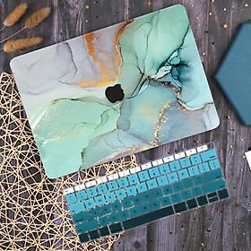 Case ốp nhựa ABS bảo vệ dành cho macbook đủ dòng siêu mỏng nhẹ không nóng máy hoạ tiết đá cẩm thạch màu xanh ngọc kèm tấm phủ bàn phím silicon