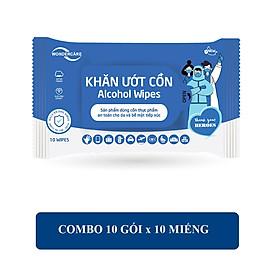 Combo 10 Gói Khăn Ướt Cồn Wondercare 10 Tờ/Gói - Kháng khuẩn 99,9%