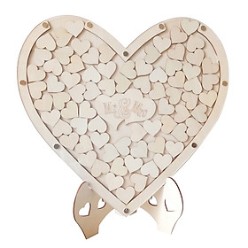 Loving Heart Shape Wooden Tabletop Guest Book Message Pad for Wedding Party