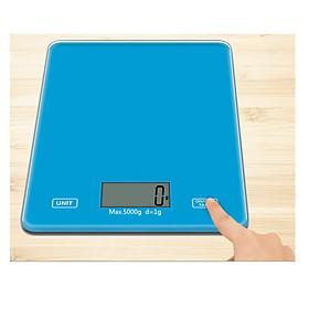 Cân tiểu ly điện tử 5kg mặt kính màu xanh phím cảm ứng. Cân tiểu li nhà bếp có độ chính xác cao