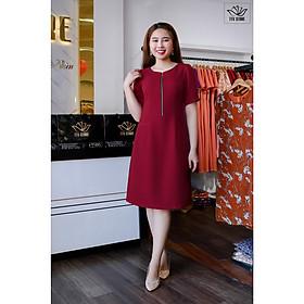 Đầm thiết kế TTV540 Đỏ - Đầm suông phối khóa trước túi mổ CV cho váy công sở đầm trung niên