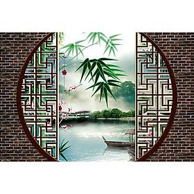 Tranh dán tường cửa sổ phong cảnh 3d 17