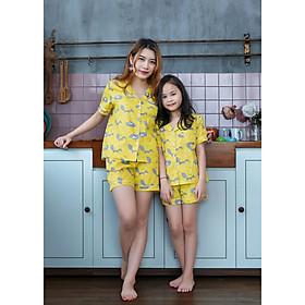 Đồ bộ Pijama mẹ và bé màu vàng họa tiết con chồn