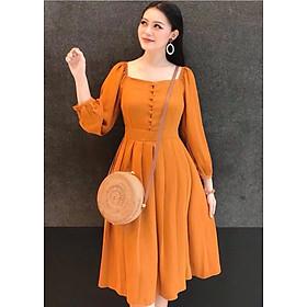 Đầm cam nút bọc xếp li