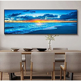 Sunset By The Sea Full Drill DIY 5D Diamond Scenery Embroidery Art Painting Kits Home Decor 150*55CM