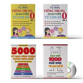 Combo 4 sách: Tự học tiếng trung từ con số 0 tập 1 + tập 2 + 5000 từ vựng tiếng Trung thông dụng nhất theo khung từ vựng HSK1 đến HSK6 và tập viết 1000 chữ từ con số 0 kèm DVD Audio sách nghe