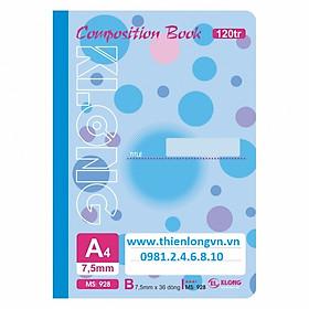 Sổ may dán gáy A4 - 120 trang; Klong 928 bìa xanh