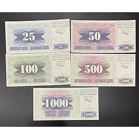 Bộ tiền Bosnia và Herzegovina sưu tầm gồm 5 tờ 25-1000 sưu tầm - Mới 100% UNC - tiền châu Âu