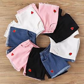 (042) Quần sooc đùi jean thời trang xinh xắn dành cho bé gái 2-14 tuổi