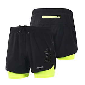Lixada Men's 2-in-1 Running Shorts Quick Drying Breathable Active Training Exercise Jogging Cycling Shorts with Longer Liner-0