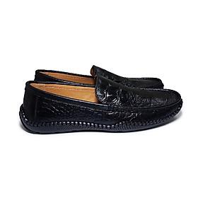 Giày mọi nam da bò thật đường may tỉ mỉ chắc chắn được dập vân cá sấu lịch lãm, đế cao su ép nhiệt siêu bền - CS001