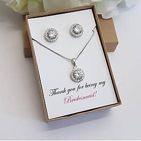 Bộ trang sức bạc xi bạch kim và đá kim cương nhân tạo