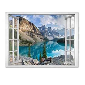 Decal trang trí cửa sổ 3D hồ nước xanh mát yên bình VTC VT0050