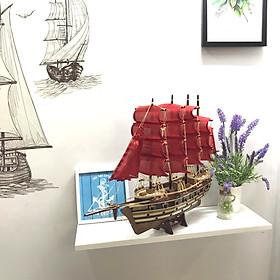 Mô hình thuyền gỗ trang trí Jylland - thân 40cm - buồm đỏ