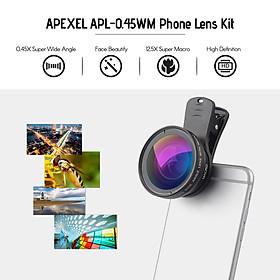 Ống Kính Macro Góc Rộng HD APEXEL APL-0.45WM Kèm Kẹp Gắn Cho Điện Thoại - Đen (Góc Rộng 0.45X) (Macro 12.5X)
