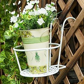 Giỏ treo chậu hoa - Chậu treo hoa ban công - Giỏ sắt treo chậu cây cứng cáp và bền bỉ, độ bền cao (Màu Trắng)